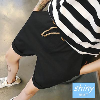 【Y110】shiny藍格子-型男基地.夏季韓版純色百搭休閒短褲