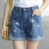 【618好康又一發】牛仔短褲女 夏季寬鬆高腰闊腿短褲