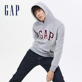 Gap男裝 Logo棉質連帽上衣 567861-麻灰色