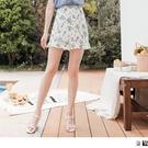 《CA2354-》雪紡滿版印花荷葉A字短裙 OB嚴選