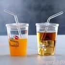 新品吸管杯耐熱玻璃杯牛奶杯圓形果汁杯帶蓋帶吸管早餐杯泡微波爐加熱包郵