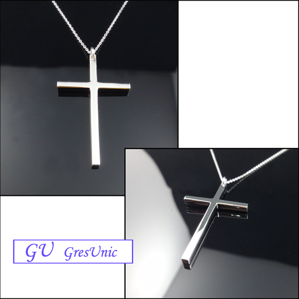 【GU 】B22 生日禮物925純銀飾品白金天主鉑金GresUnic Asivers 十字架吊墜 送銀項鍊 女