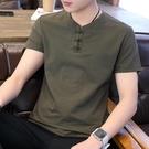 棉麻上衣 男士短袖t恤潮流夏季中國風v領半袖休閒男裝夏裝2020新款上衣 - 古梵希