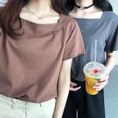 夏季 小方領短袖上衣寬鬆簡約ins純色t恤 降價兩天