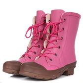 中筒雨靴-明星款防滑焦點防水女雨鞋2色5s13[時尚巴黎]