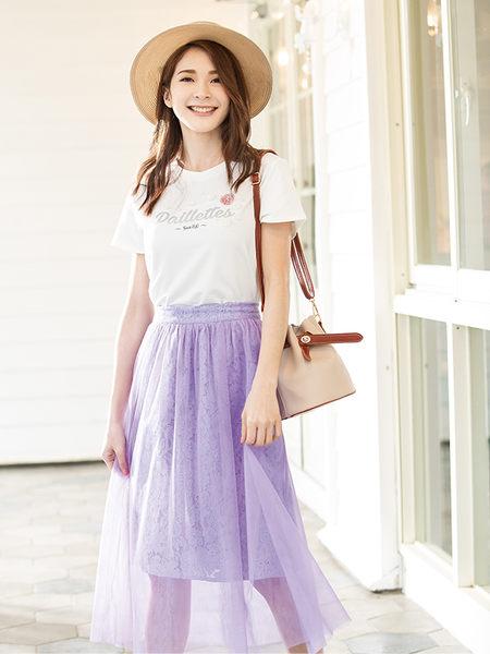 春夏7折[H2O]手縫珠立體花朵裝飾印花針織棉T - 深藍/白/粉色 #9671010
