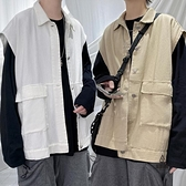 復古馬甲男素色工裝夾克秋日系寬鬆開衫外套【愛物及屋】