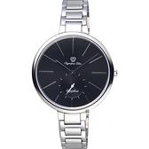 Olympia Star奧林比亞 超薄小秒針手錶-黑x銀/37mm 28031MS