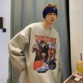 美式高街嘻哈連帽T恤男寬鬆潮流新款圓領長袖上衣服學生百搭加絨外套 「夢幻小鎮」