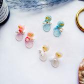 夏日清新可愛海星貝殼耳環個性手工絲帶珍珠耳釘海洋風耳飾【ADE591】
