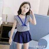 女童夏裝條紋套裝韓國時尚短袖短褲洋氣中大童夏季兩件套【東京衣秀】