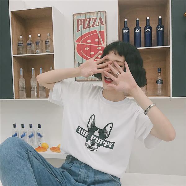 【GZ64】 韓國東大門ulzzang歐美日系上衣女原宿卡通犬男女情侶裝短袖T恤