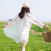 【買一立折七折】夏季2019新款甜美超仙雪紡薄外套披開衫小清新上衣防曬服女中長款『鹿角巷』