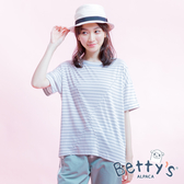 betty's貝蒂思 條紋圓領寬鬆上衣(深灰)