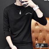 『潮段班』【HJ00W617】韓版 M-5L 素面刺繡電繡英文字母袖內領紅白條紋高領圓領長袖T恤 七分袖