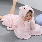 秋冬季兒童珊瑚絨睡袍可愛帶帽加厚男女童法蘭絨長袖寶寶浴袍睡衣【交換禮物】