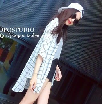 EASON SHOP(GU6819)夏季黑色白色格子側開衩前短後長雪紡防曬格紋長袖襯衫外套女上衣服中長版寬鬆