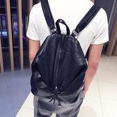 雙肩包 男韓版個性時尚潮包新款背包休閒鉚釘包潮流水洗皮包 溫暖享家