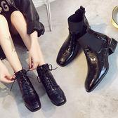 秋季英倫方頭馬丁靴女百搭粗跟系帶及踝靴時尚短靴潮