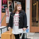 Miss38-(現貨)【A07075】百搭黑/活力紅 大尺碼牛仔外套 男友風 寬鬆 開扣 夾克- 中大尺碼