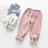 女童棉麻透氣防蚊褲2020新款中小童長褲薄款寶寶寬鬆蕾絲花邊褲子 滿天星