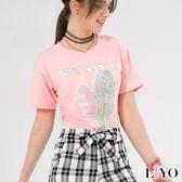 上衣亮片羽毛圓領休閒短袖T恤LIYO理優E732013