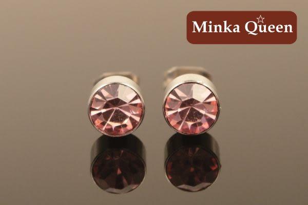 德國鈦鋼 粉紅色精緻水鑽 直立式抗敏耳環(一對)(5 mm)