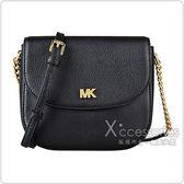 MK MICHAEL KORS MOTT金字MK LOGO牛皮鏈帶釦式斜背包(黑)
