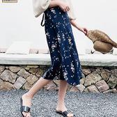 長裙 雪紡 印花 一片裙 沙灘裙 綁帶 百搭 長裙【YF666】 BOBI  09/05