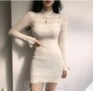 連身裙2021性感淑女包臀緊身長袖蕾絲裙連衣裙短裙春款氣質時尚顯瘦顯高洋裝 町目家