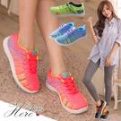 [Here Shoes]4色炫彩 螢光編織輕量化繫帶運動慢跑鞋 休閒鞋 帆布鞋(鞋款偏小)─AP070