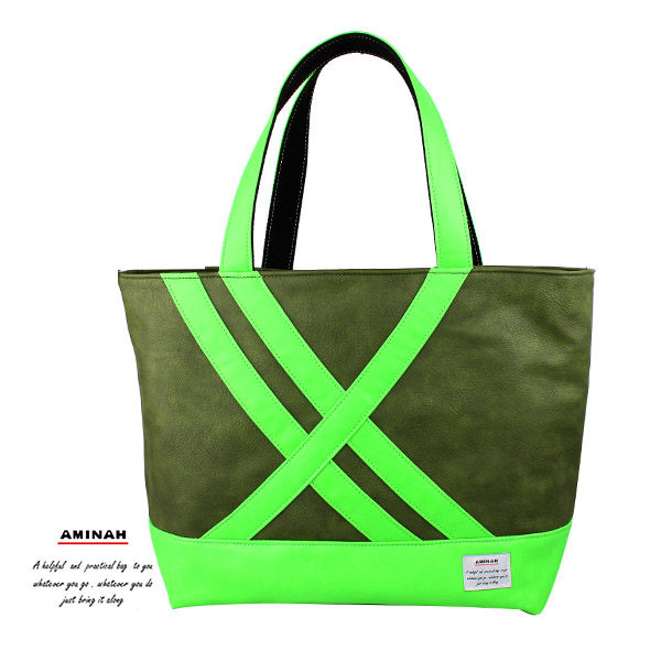 螢光綠皮革托特包 肩背包 綠色   AMINAH~【am-0252】