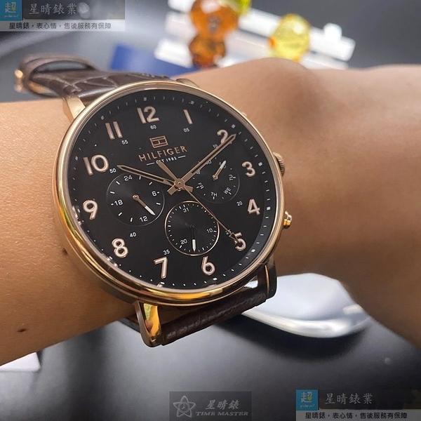 Tommy Hilfiger湯米希爾費格男女通用錶44mm黑色錶面咖啡色錶帶