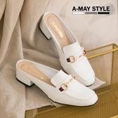 穆勒鞋-MIT英倫感方頭鍊飾懶人鞋