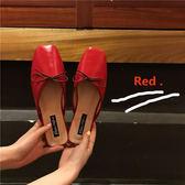 現貨 網紅ins時尚拖鞋女夏款外穿平底鞋蝴蝶結包頭半拖鞋粗跟穆勒鞋 平底涼拖鞋