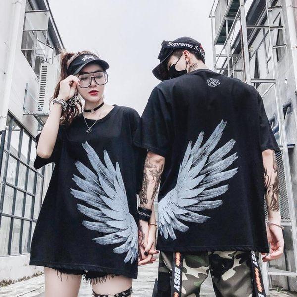 情侶T恤 國潮鳳凰前后翅膀短袖T恤男女情侶寬鬆hiphop嘻哈半袖ins超火上衣
