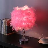 桌燈羽毛檯燈臥室床頭柜燈創意浪漫簡約現代小夜燈溫馨裝飾檯燈 【ifashion·全店免運】