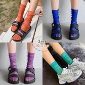 3雙裝 彩色堆堆襪女中筒襪透明薄款透氣網紗日系涼鞋襪【小酒窩服飾】