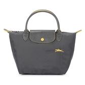 Longchamp 1621 LE PLIAGE 奔馬刺繡短提把小型尼龍摺疊水餃包(鐵灰色)480206-300
