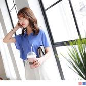 OrangeBear《AB4012》質感純色排釦打褶設計連袖雪紡襯衫.2色