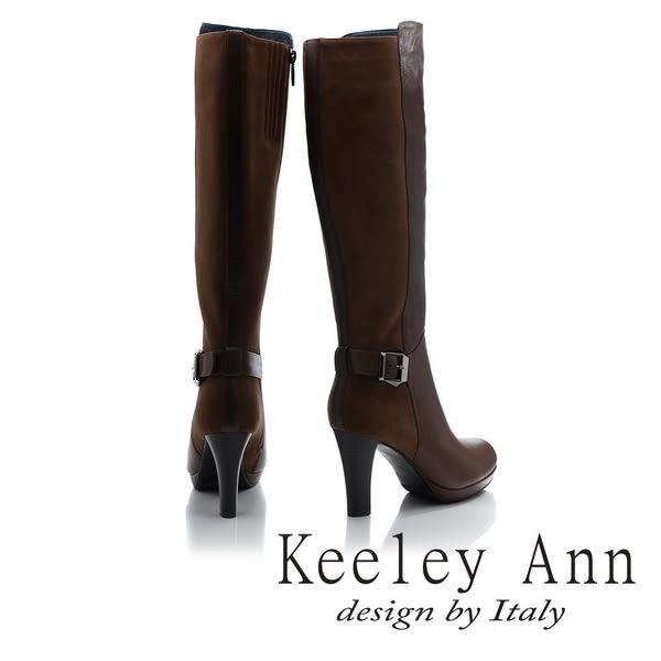 ★2017秋冬★Keeley Ann高貴典雅~異質拼接皮帶飾釦真皮高跟長靴(棕色)