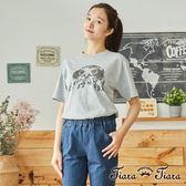【Tiara Tiara】百貨同步  印象風老鷹圖騰短袖棉T(白/灰)