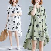 洋裝 連身裙文藝洋氣寬鬆燕尾式棉麻波點A字型不規則圓領短袖連衣裙