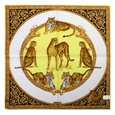 VERSACE古典猛獸圖紋純棉手帕領巾(黃色)989017-22