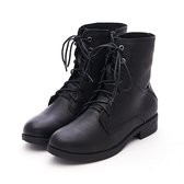 MICHELLE PARK 走路有風優雅中性羊皮綁帶拉鍊短筒靴黑