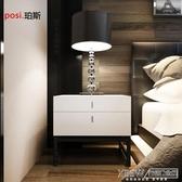 床頭櫃現代臥室烤漆床頭櫃儲物櫃 黑色鐵架腳床邊櫃時尚簡約二斗櫃定制『koko時裝店』