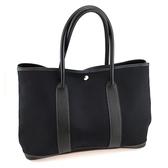 【奢華時尚】秒殺推薦!HERMES Garden Party 黑色皮革混搭布料肩背包(八五成新)#23712