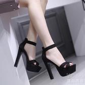 15cm超高跟鞋粗跟涼鞋女新款魚嘴防水臺14CM恨天高走秀模特鞋 優尚良品
