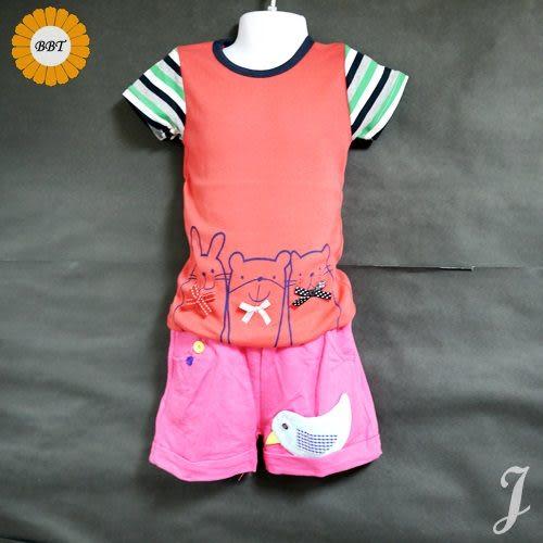 ☆棒棒糖童裝☆夏款女童動物款短袖上衣 尺碼5-15