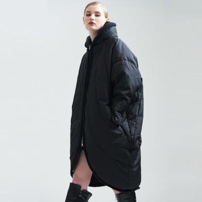 羽絨夾克-立領冬季保暖中長版寬鬆女外套73pv22[巴黎精品]